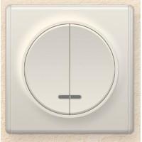 OneKeyElectro Выключатель двойной с подсветкой, Бежевый (1Е31801301)