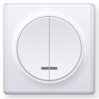 OneKeyElectro Выключатель двойной с подсветкой, Белый (1Е31801300)