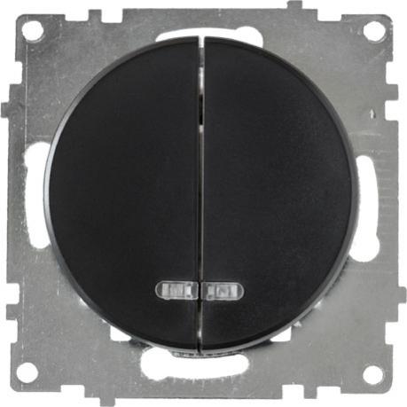 OneKeyElectro Выключатель двойной с подсветкой, Черный (1Е31801303)