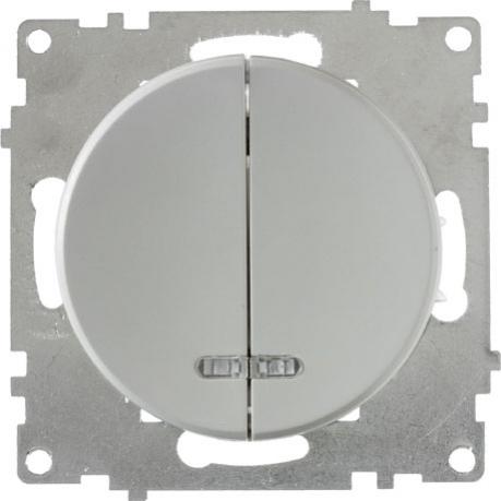 OneKeyElectro Выключатель двойной с подсветкой, Серый (1Е31801302)
